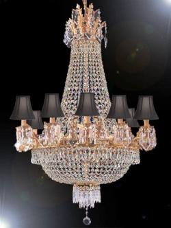 Empire Crystal Chandelier Lighting With Black Shades - Thumbnail 0