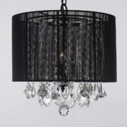 Swag Plug In Crystal Chandelier With Large Black Shade H15 x W15 - Thumbnail 0