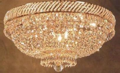 French Empire Crystal Flush Chandelier Lighting H18 x W23 - Thumbnail 0