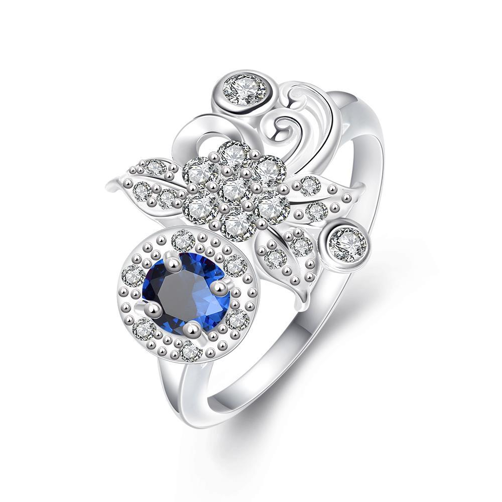 Vienna Jewelry Petite Mock Sapphire Gem Covered with Clover Crystal Ring Size 8