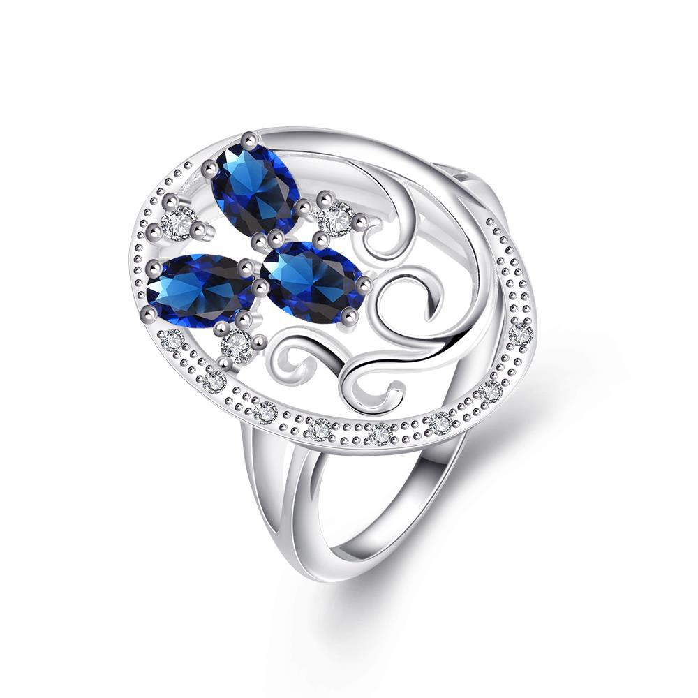 Trio-Mock Sapphire Swirl Design Pendant Petite Ring Size 8