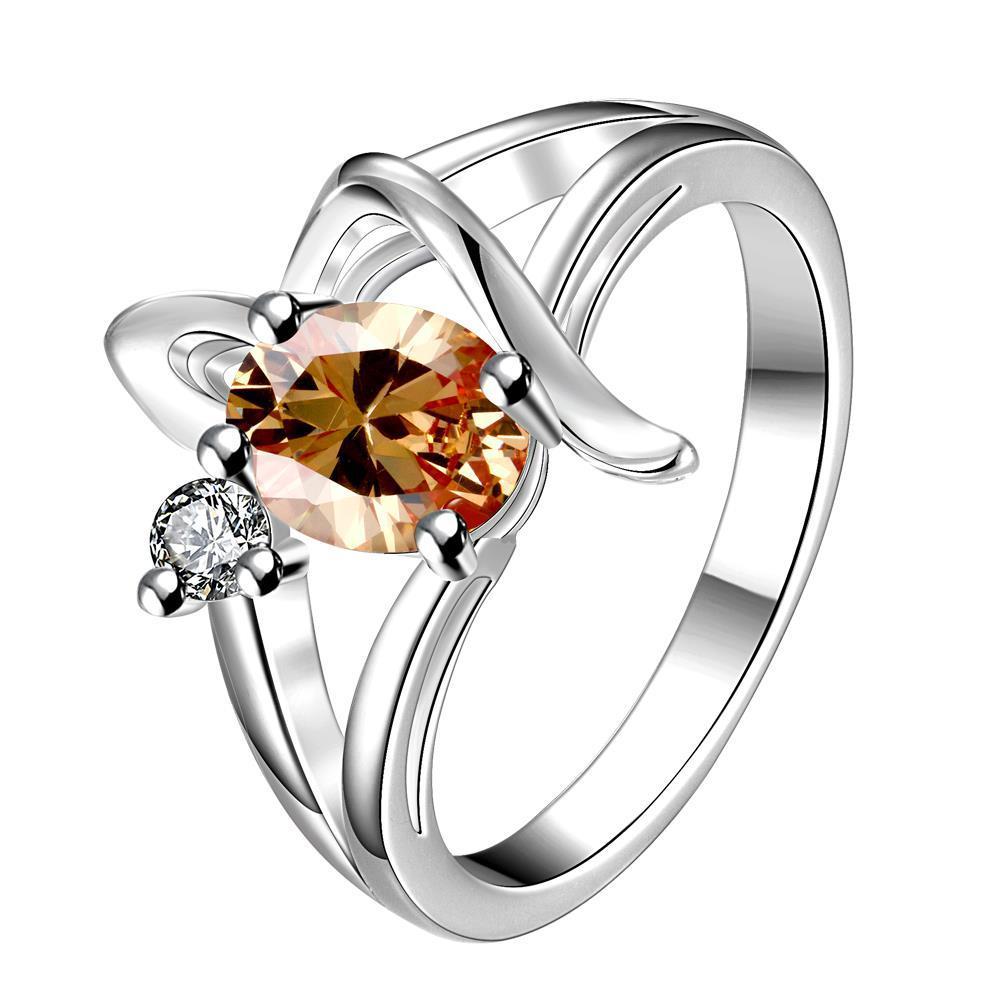 Vienna Jewelry Orange Citrine Spiral Design Petite Ring Size 7