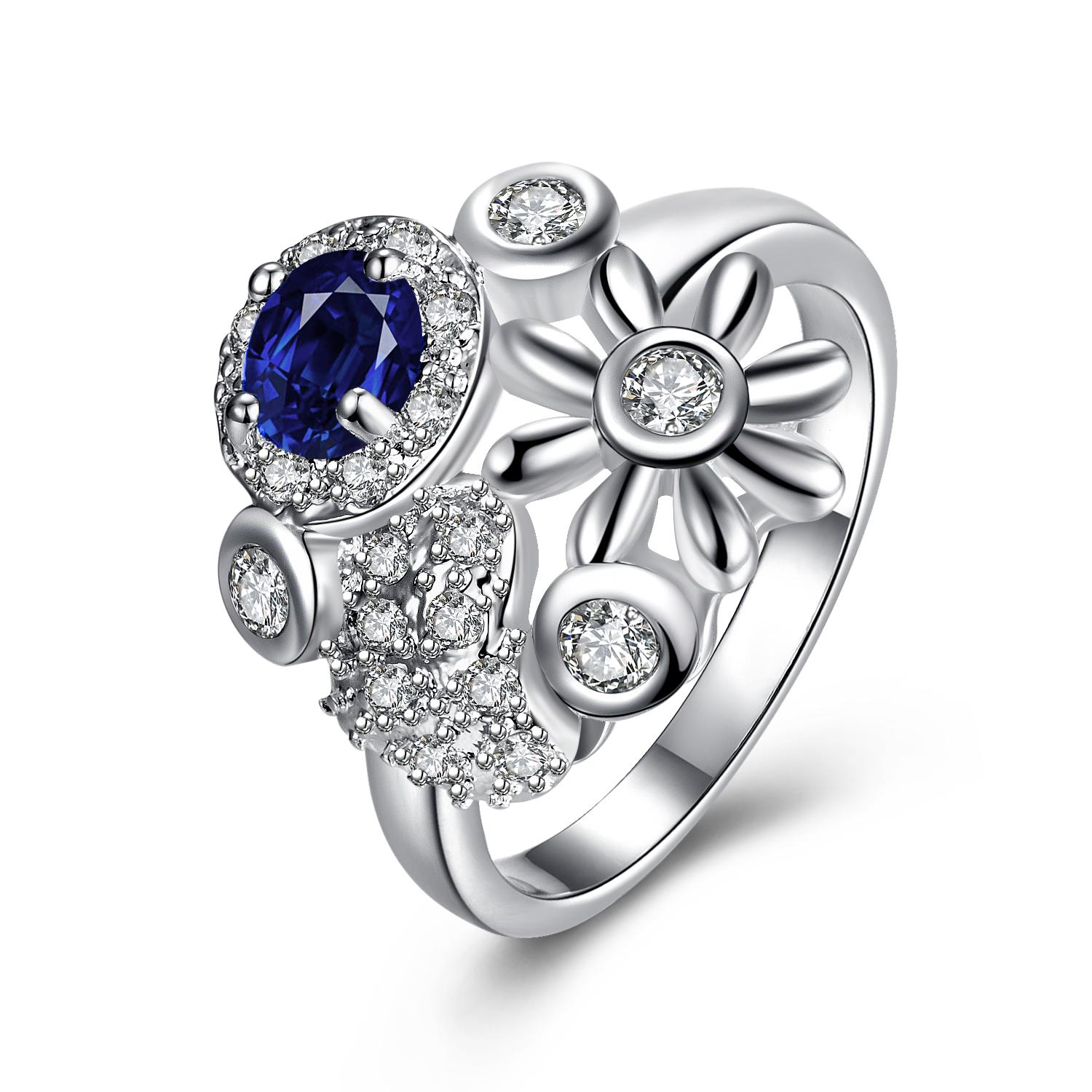 Vienna Jewelry Mock Sapphire Multi-Charms Inserted Petite Ring Size 7