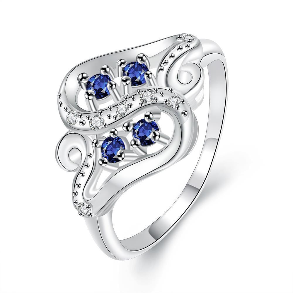 Quad-Petite Mock Sapphire Swirl Design Ring Size 8