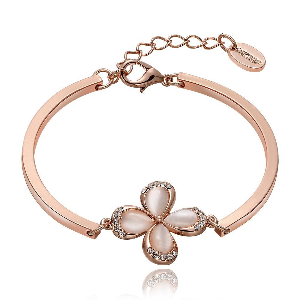 Vienna Jewelry 18K Rose Gold Floral Petal Bracelet with Austrian Crystal Elements