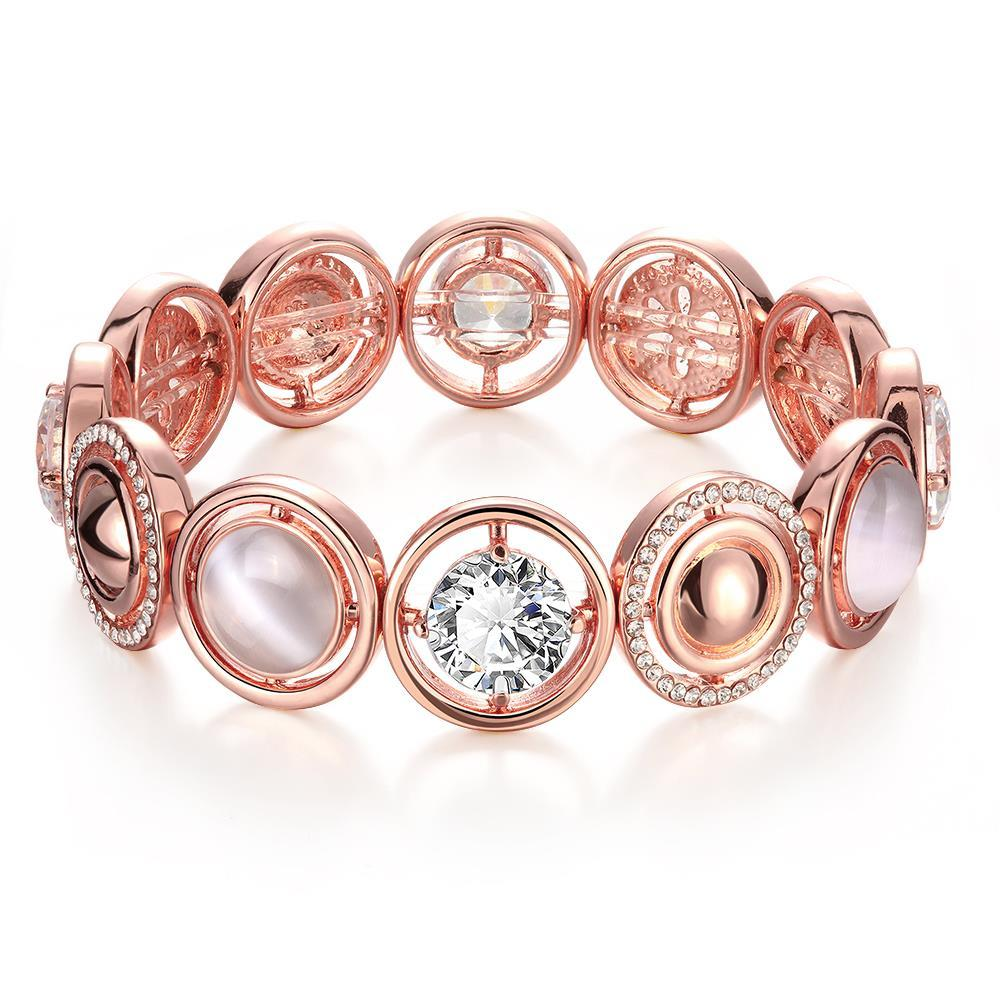 Vienna Jewelry 18K Rose Gold Bracelet Covered with Natural Gemstones with Austrian Crystal Elements