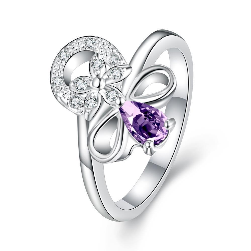 Petite Purple Citrine Swirl Floral Emblem Ring Size 8