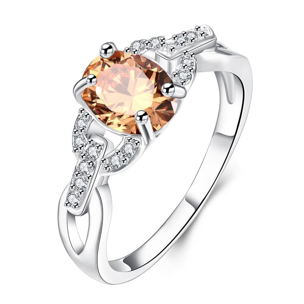 Vienna Jewelry Petite Orange Citrine Swirl Petite Ring Size 8