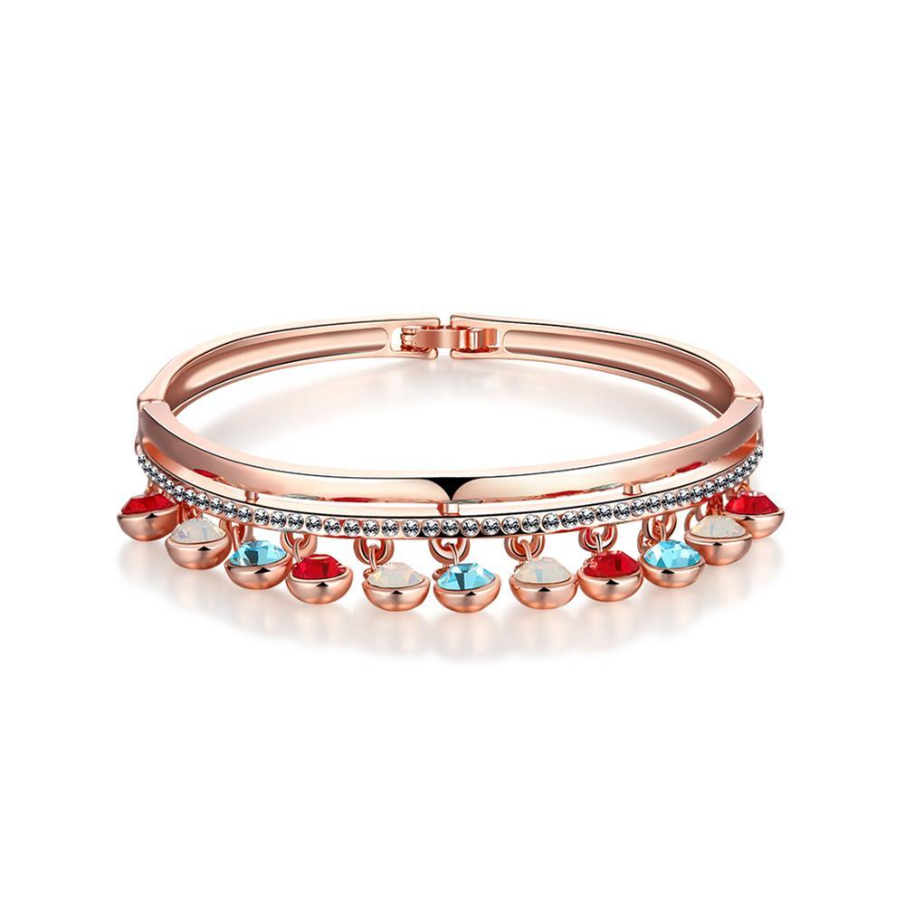 Vienna Jewelry 18K Rose Gold Bangle with Dropdown Gems & Beads with Austrian Crystal Elements