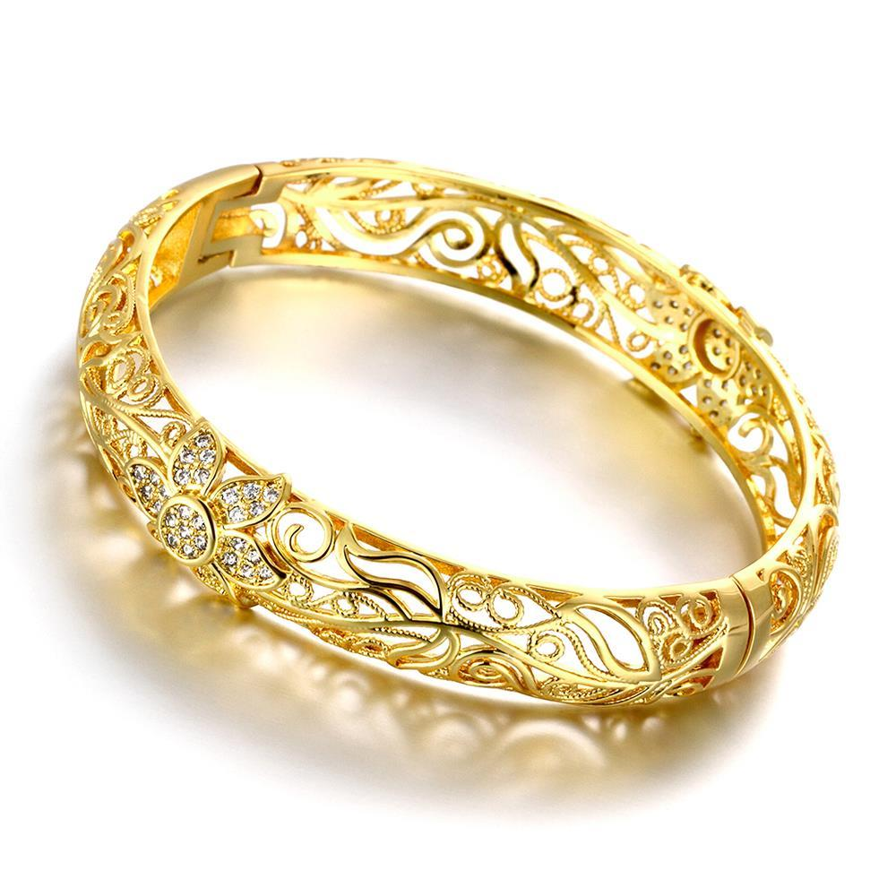 Vienna Jewelry Gold Plated Laser Cut Matrix Ingrain Bangle