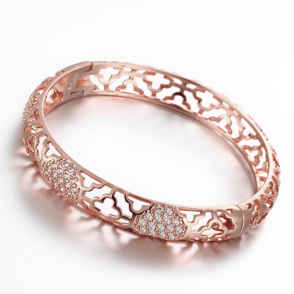 Vienna Jewelry Rose Gold Plated Hammer Head Classic Bangle