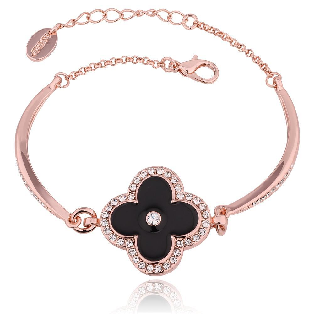Vienna Jewelry 18K Rose Gold Black Floral Petal Bracelet with Austrian Crystal Elements