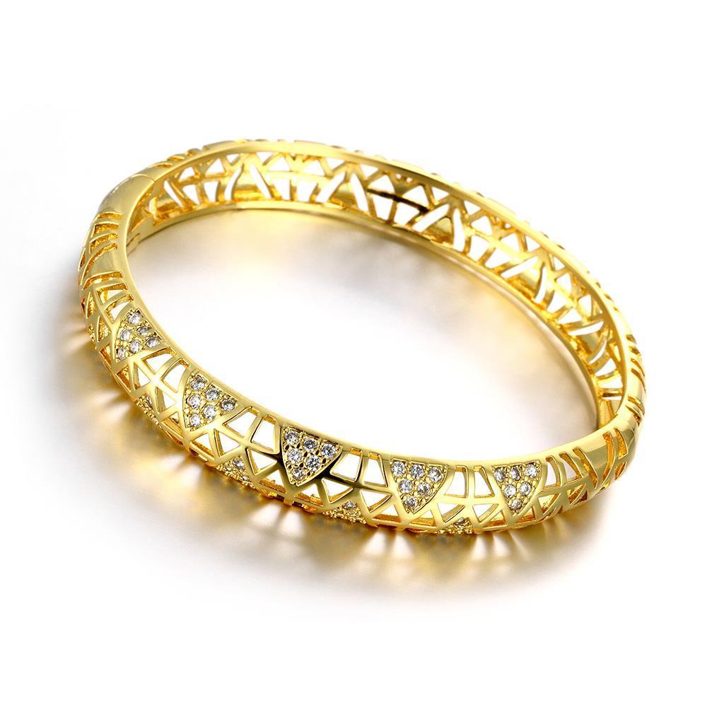 Vienna Jewelry Gold Plated Aztec Inprint Bangle