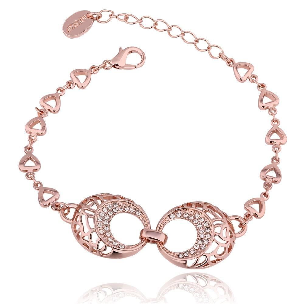 Vienna Jewelry 18K Rose Gold Circular Bracelet with Austrian Crystal Elements