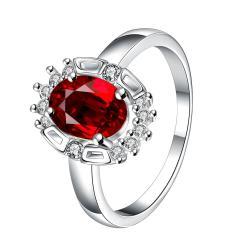 Ruby Red Gem Circular Jewels Ring Size 7 - Thumbnail 0