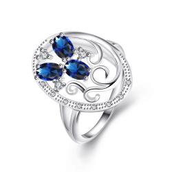 Trio-Mock Sapphire Swirl Design Pendant Petite Ring Size 8 - Thumbnail 0