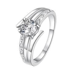 Petite Classic Crystal Trio-Spiral Lined Ring Size 8 - Thumbnail 0