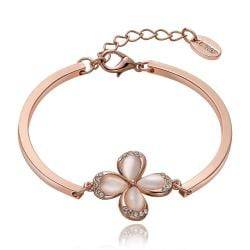 Vienna Jewelry 18K Rose Gold Floral Petal Bracelet with Austrian Crystal Elements - Thumbnail 0