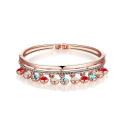Vienna Jewelry 18K Rose Gold Bangle with Dropdown Gems & Beads with Austrian Crystal Elements - Thumbnail 0