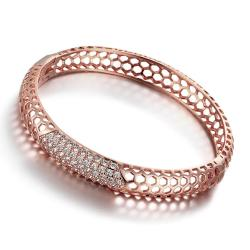 Vienna Jewelry Rose Gold Plated Hollow Ingrained Circular Bangle - Thumbnail 0