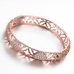 Vienna Jewelry Rose Gold Plated Hammer Head Classic Bangle - Thumbnail 0