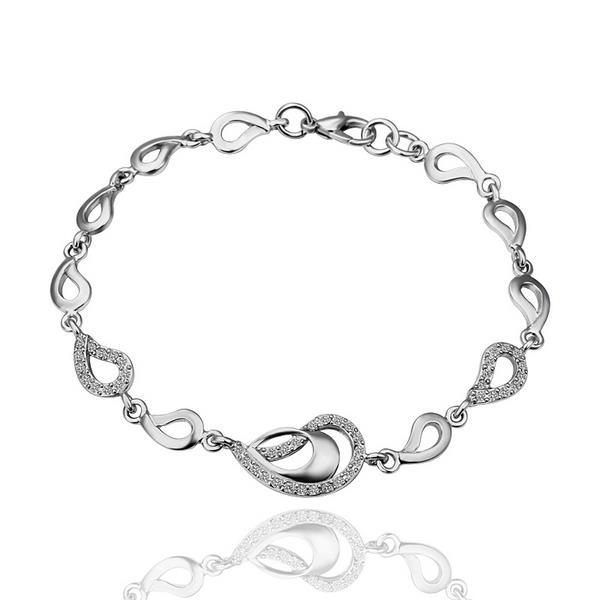 Vienna Jewelry Double Circles Connector 18K White Gold Bracelet with Austrian Crystal Elements