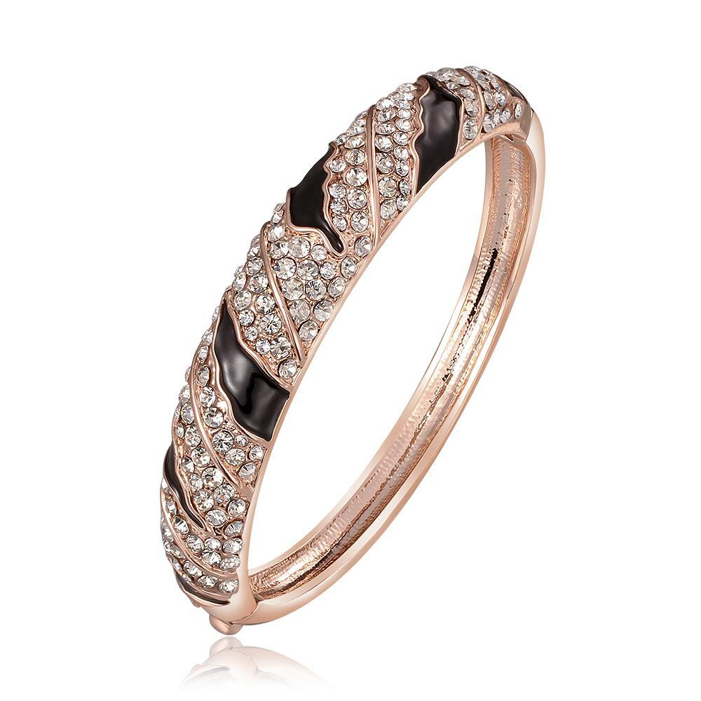 Vienna Jewelry 18K Rose Gold with Crystal Designs Bangle with Austrian Crystal Elements