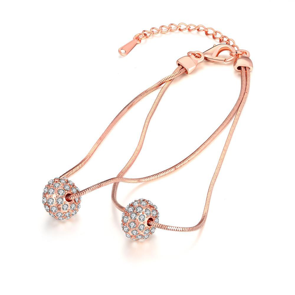 Vienna Jewelry 18K Rose Gold Plated Crystal Pava Ball Bracelet