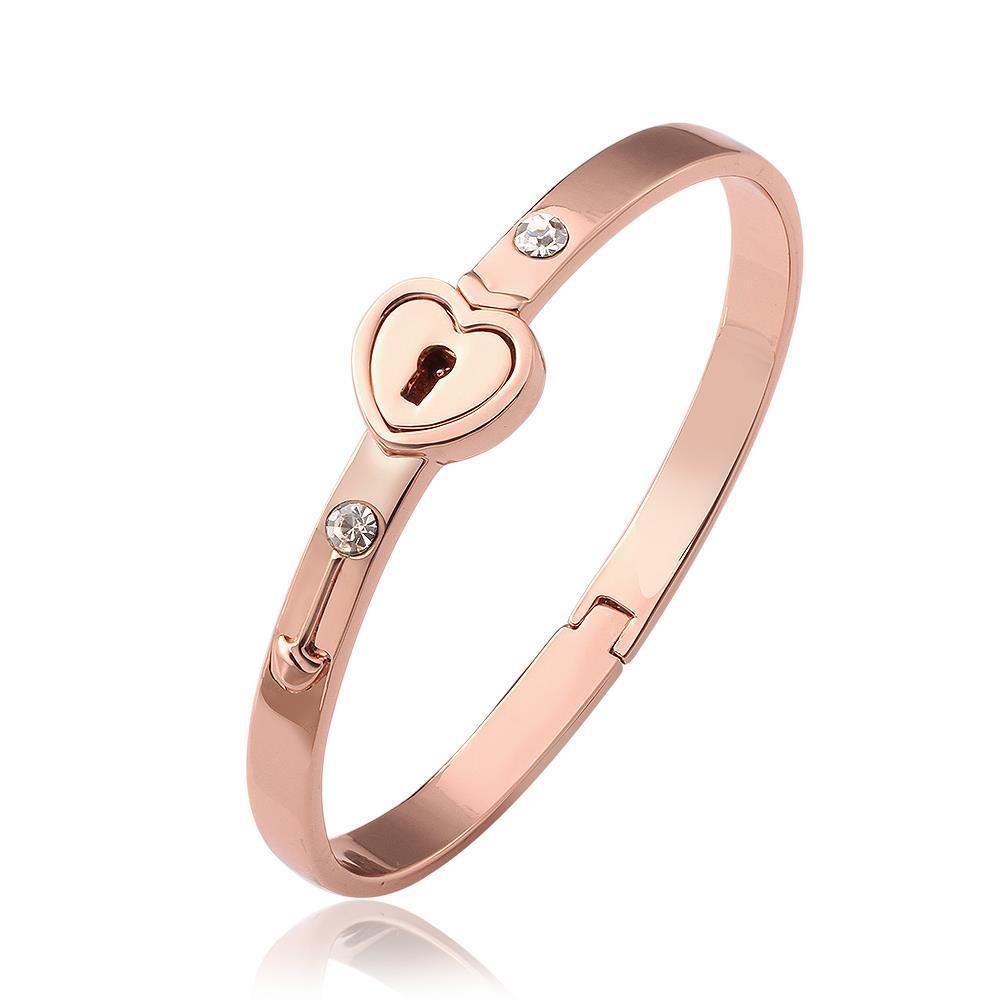"Vienna Jewelry 18K Rose Gold ""The Key To My Heart"" Bangle with Austrian Crystal Elements"