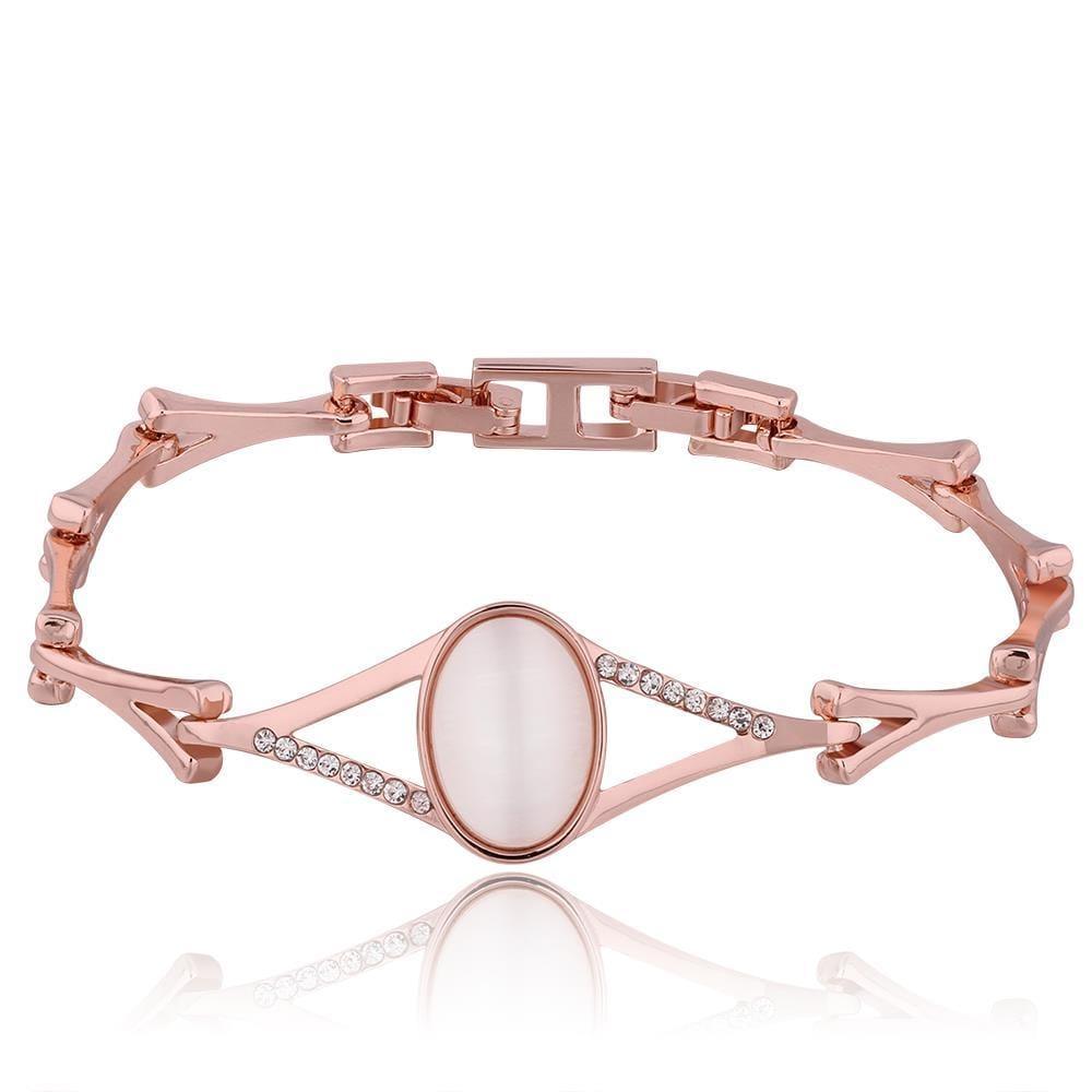 Vienna Jewelry 18K Rose Gold Natural Gemstone Bracelet with Austrian Crystal Elements