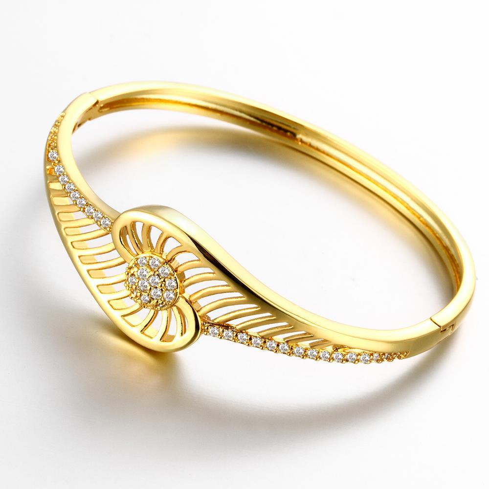 Vienna Jewelry Gold Plated Slim Cuff-Standard Bangle