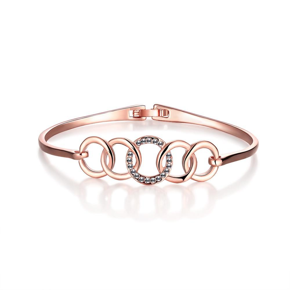Vienna Jewelry 18K Rose Gold Interconnected Circles Bangle with Austrian Crystal Elements