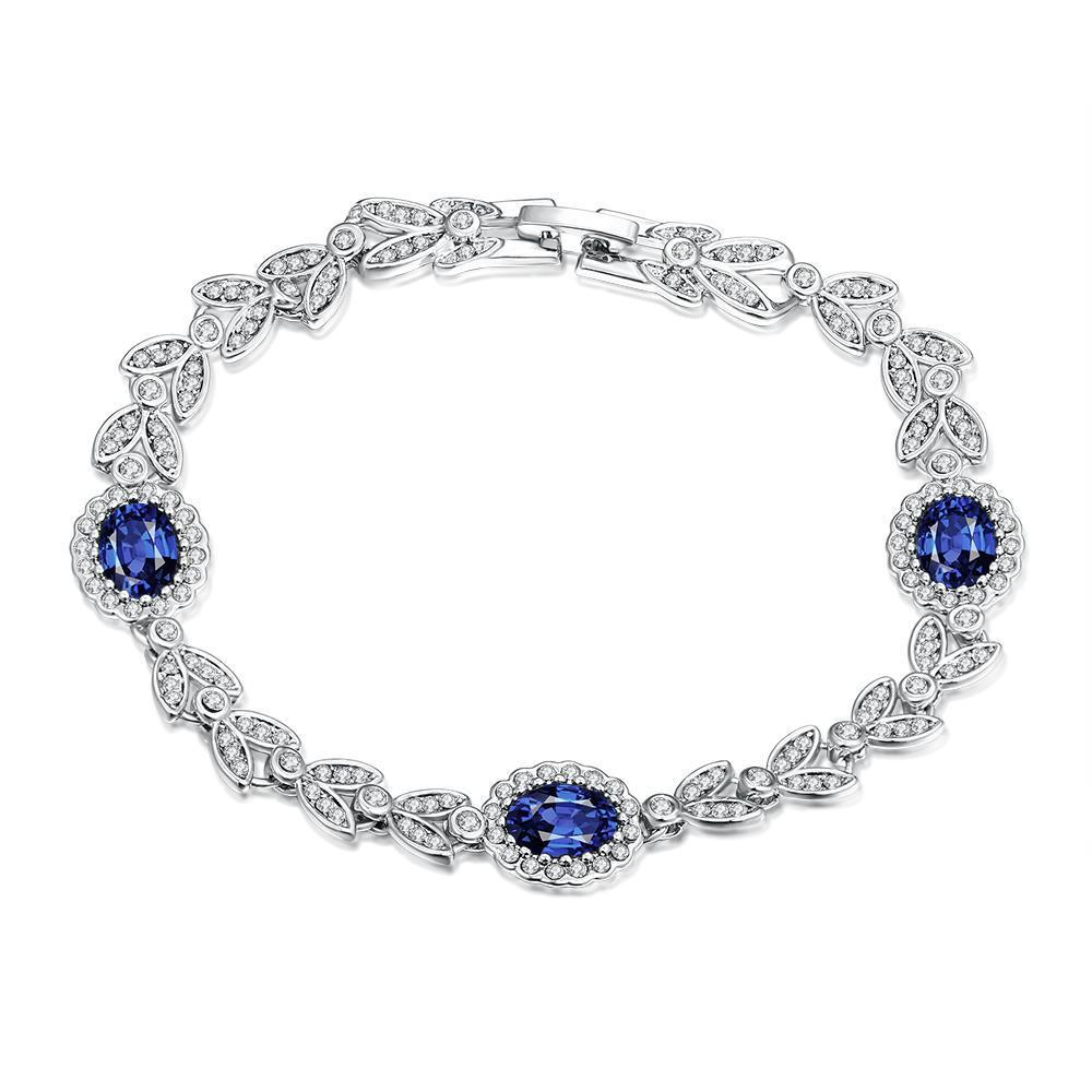 Vienna Jewelry Sapphire Gem 18K White Gold Plated