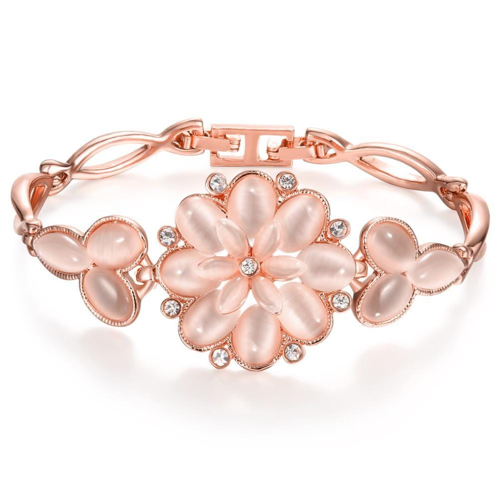 Vienna Jewelry 18K Rose Gold Bracelet with Large Rose Petal Emblem with Austrian Crystal Elements