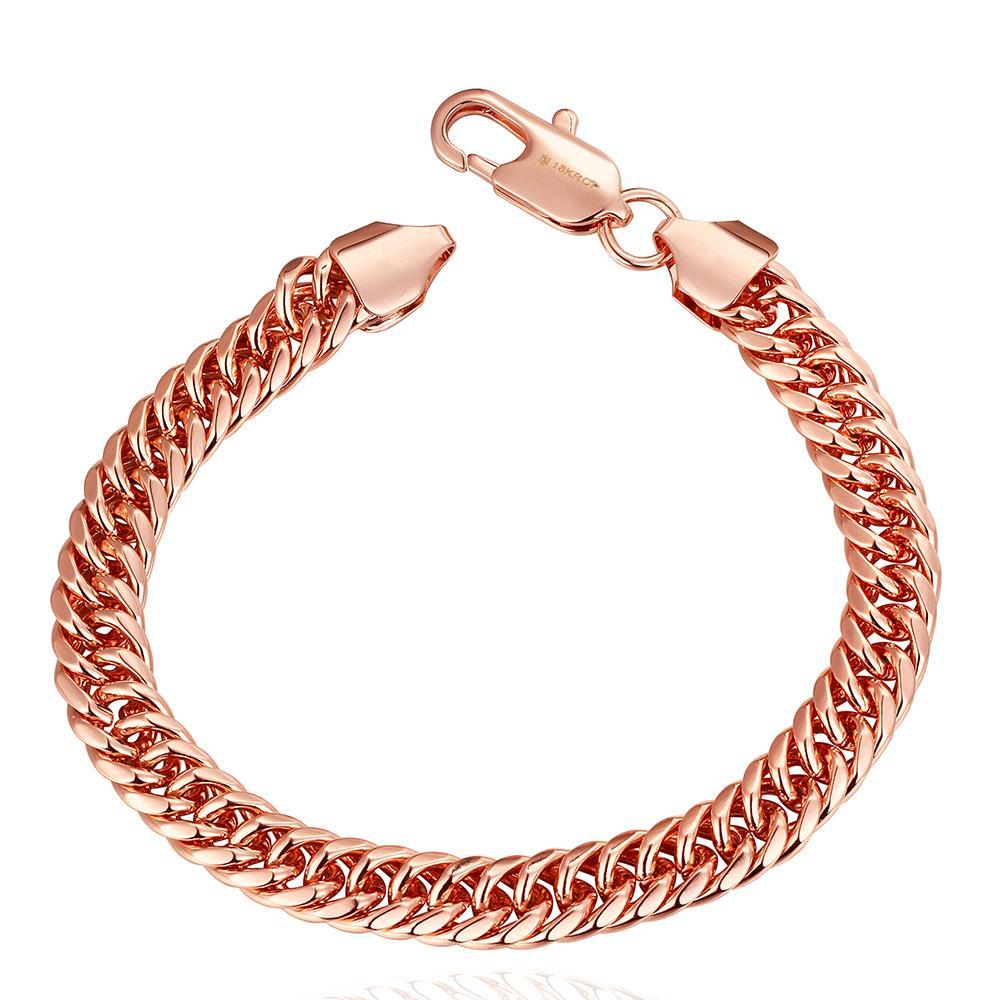 Vienna Jewelry 18K Rose Gold Classic Chain Bracelet with Austrian Crystal Elements