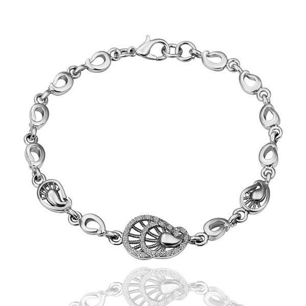 Vienna Jewelry Petite Seashell 18K White Gold Bracelet with Austrian Crystal Elements