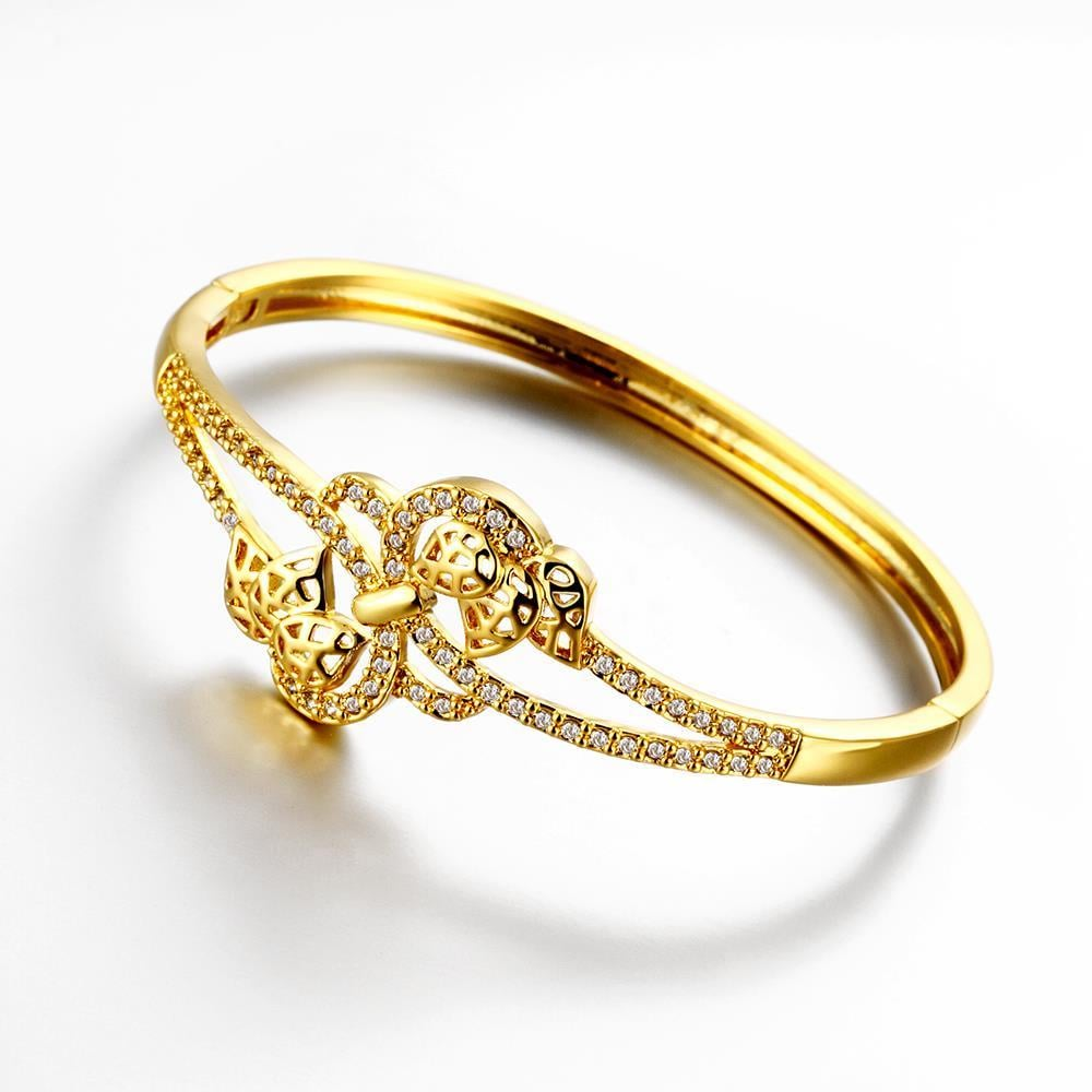 Vienna Jewelry Gold Plated Floral Petal Hollow Knots Bangle