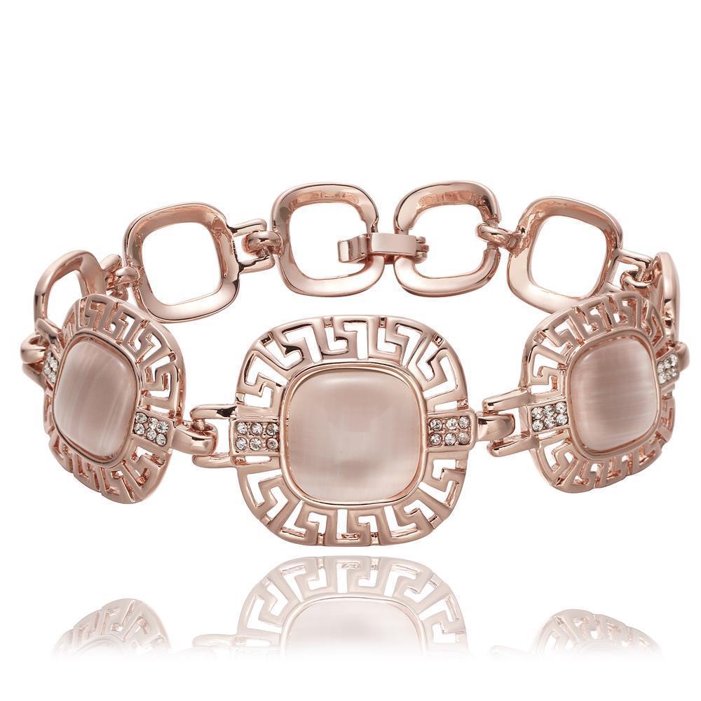 Vienna Jewelry 18K Rose Gold Gemstone Plate Bracelet with Austrian Crystal Elements