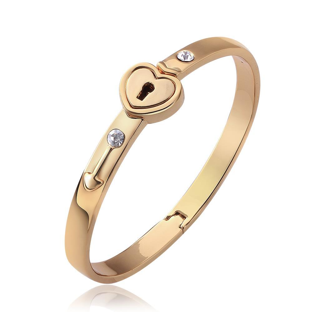 """Vienna Jewelry 18K Gold """"The Key To My Heart"""" Bangle with Austrian Crystal Elements"""
