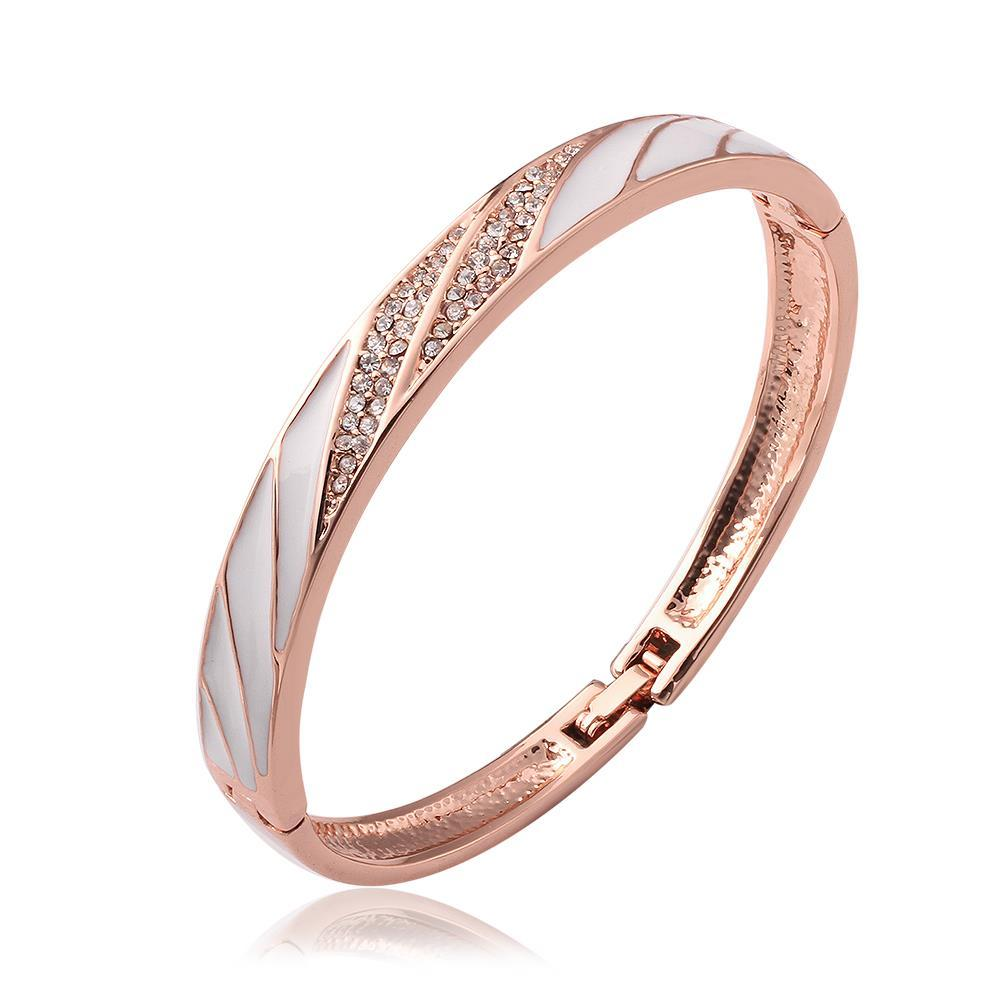 Vienna Jewelry 18K Rose Gold Bangle with Ivory Swirls with Austrian Crystal Elements