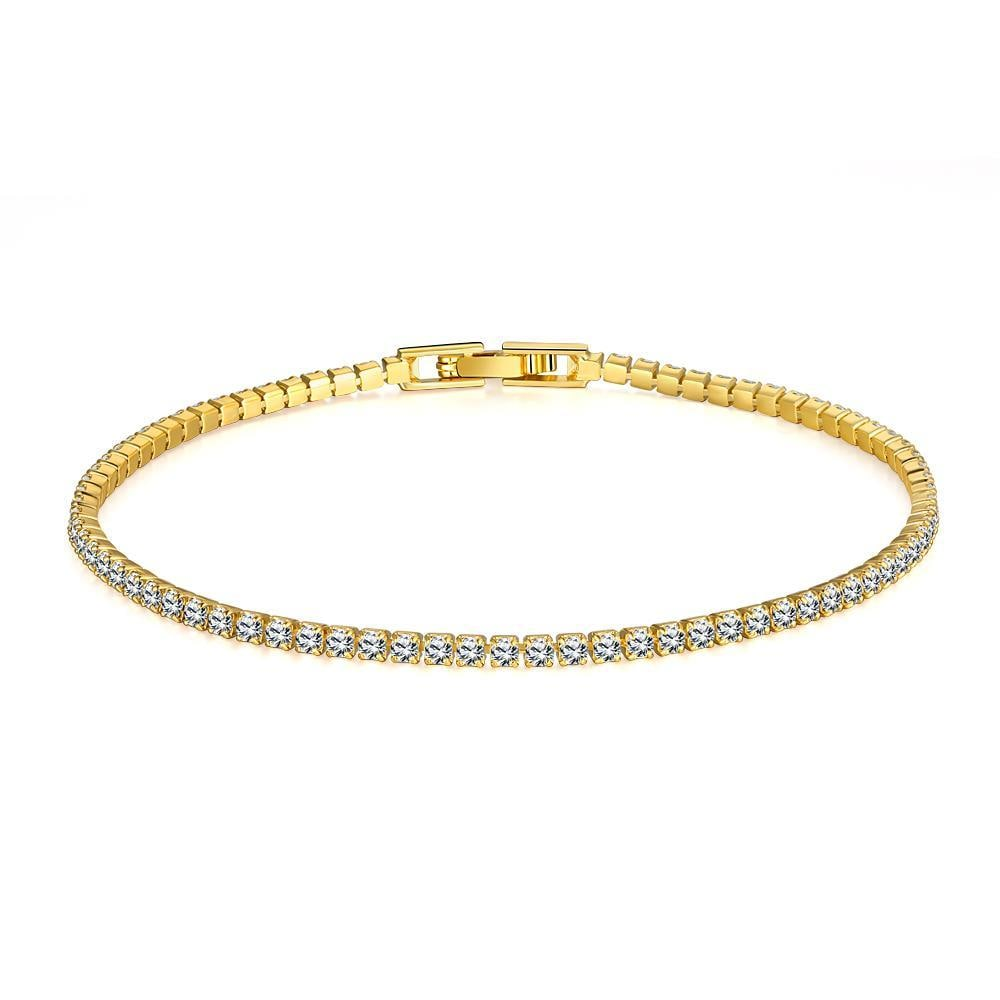 Vienna Jewelry Tennis Style 18K Gold Plated Bracelet