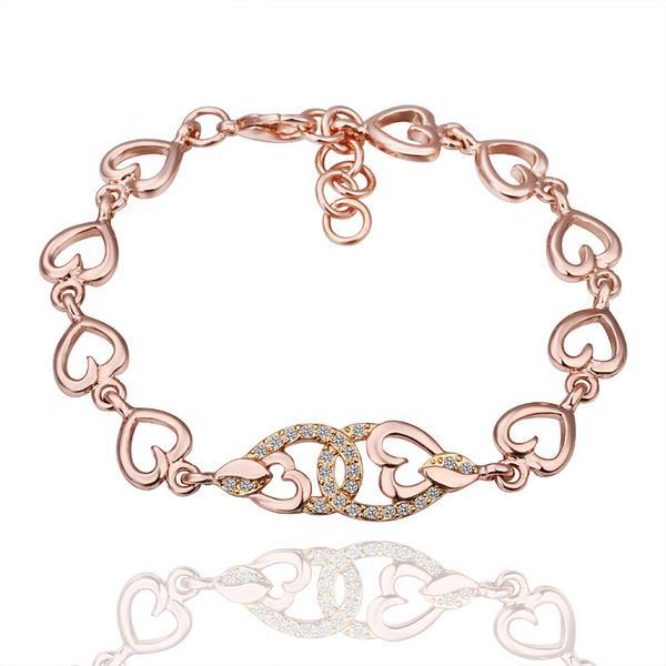 Vienna Jewelry Interconnected Hearts 18K Gold Bracelet with Austrian Crystal Elements