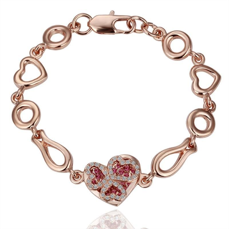 Vienna Jewelry Gold Ruby Jewels Heart Bracelet with Austrian Crystal Elements