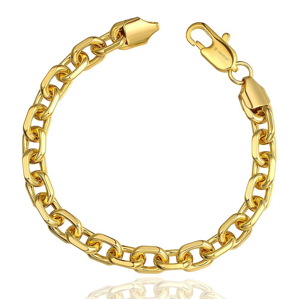 Vienna Jewelry 18K Gold Chained Men's Bracelet with Austrian Crystal Elements
