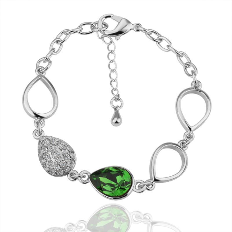 Vienna Jewelry Emerald Gem 18K White Gold Bracelet with Austrian Crystal Elements - Thumbnail 0
