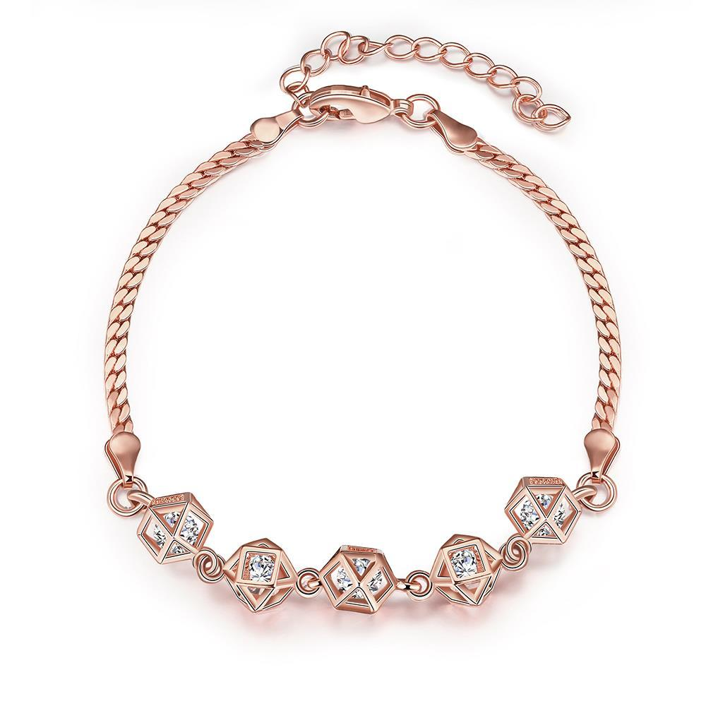 Vienna Jewelry Rose Gold Plated Full Line Rubix Cubed Bracelet
