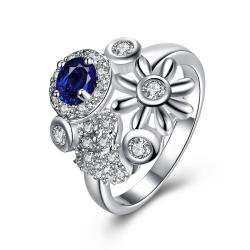 Mock Sapphire Multi-Charms Inserted Petite Ring Size 7 - Thumbnail 0