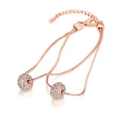 Vienna Jewelry 18K Rose Gold Plated Crystal Pava Ball Bracelet - Thumbnail 0