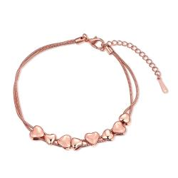 Vienna Jewelry 18K Rose Gold Plated Heart Bracelet - Thumbnail 0