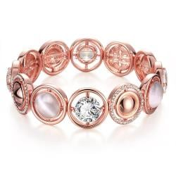 Vienna Jewelry 18K Rose Gold Bracelet Covered with Natural Gemstones with Austrian Crystal Elements - Thumbnail 0
